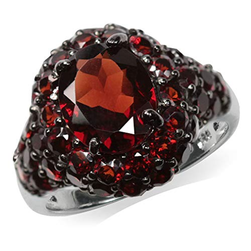 (6.01ct. Natural Garnet Black Rhodium Plated 925 Sterling Silver Cluster Cocktail Ring Size 9)