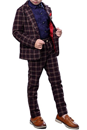 YUFAN Boys Plaid Suits Navy Blue and Brown Suit Set 2 Pieces Blazer and Pants Set