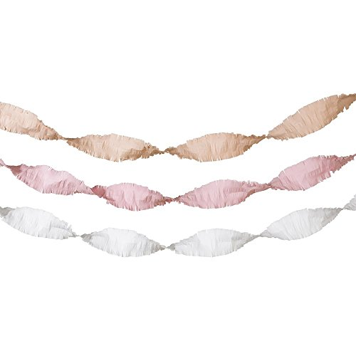 Talking Tables Decadent Decor 13 Ft. Crepe Paper Streamers for your Home Décor or Birthday Party, Blush/Gold/Pink