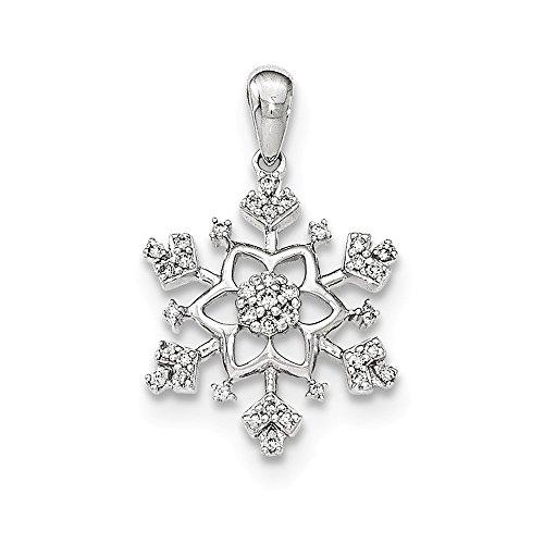 White Gold Diamond Snowflake Pendant - Diamond2Deal 14k White Gold Diamond Snowflake Pendant