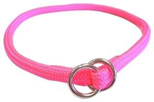 Hamilton 823 HP 3/16-Inch by 10-Inch Round Braided Choke Nylon Dog Collar, Hot Pink
