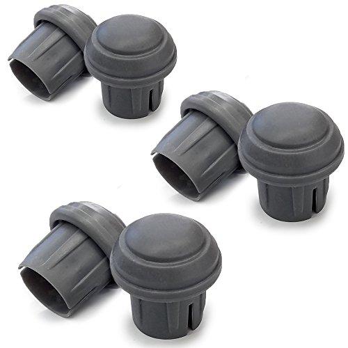 Durable Mushroom Walker Glide Caps - Gray (3 Pairs) (Invacare Parts Walker)