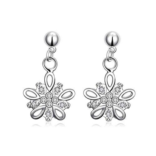 fonk: silver plated earings Crystal flower clusters drop brincos de festa horloge