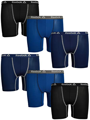 Reebok Boys 6 Pack Performance Boxer Briefs (Black/Blue/Navy, Large (12/14))' ()