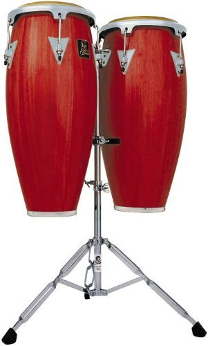Latin Percussion LPA646-RWC Aspire Wood 10-Inch and 11-Inch Conga Set with Double Stand - Red Wood/Chrome