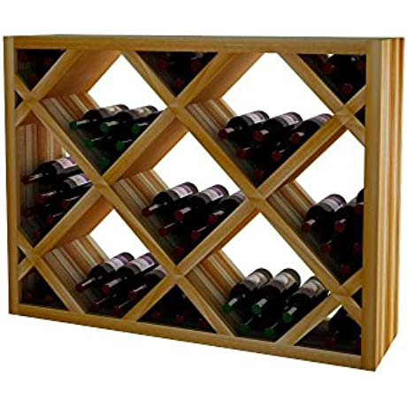 Wine Cellar Innovations DR UN DIAMAR LAQG1 A3 Designer Series Diamond Bin Below Archway Solid Material Wine Rack Premium Redwood With Lacquer Finish Unstained