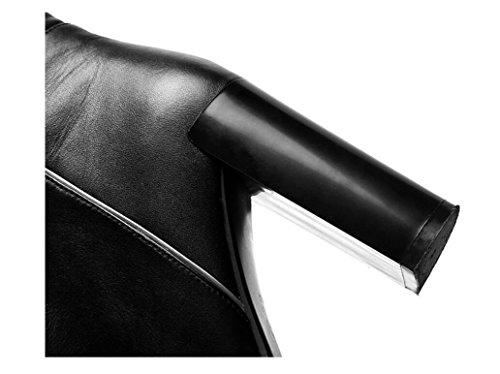 di cuoio 34 a alto mano Inverno velluto caldo Plus tacco pieno punta donna stivaletto stivali con 36 imbottito stivali fatti spessa zH8vHPq