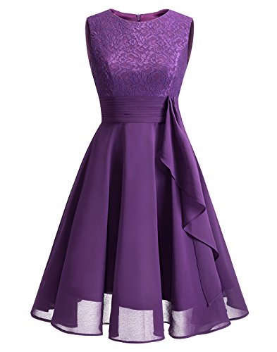 Grape Prom Dresses Formal Short Gowns Bridesmaid Womens Chiffon ALAGIRLS p8qOw