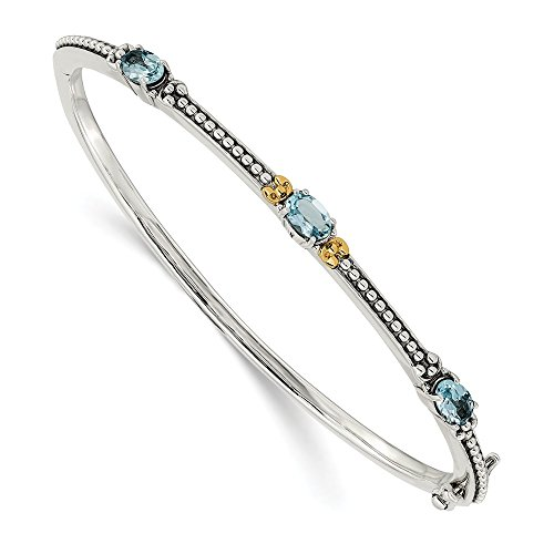 14K White Gold Sky Blue Topaz Bangle Hinged Yellow Gemstones Bracelets -