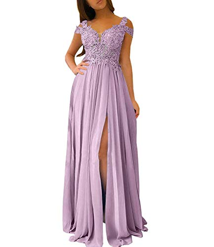 Bridesmaid Dresses for Women Appliques Formal Dress Women Prom Dresses Side Slit Wisteria Size 14