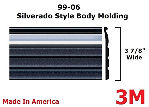 (Autmotive Authority 1999-2006 Chevy Silverado Chrome/Black Side Body Trim Molding Pickup Truck - 3 7/8