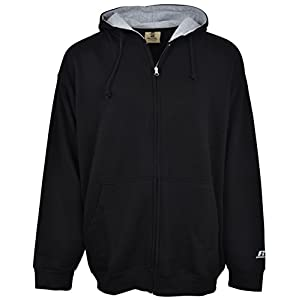 Russell Athletic Men's Big & Tall Fleece Zip-Front Hoodie , BLACK/HEATHER GREY, XXX-Large