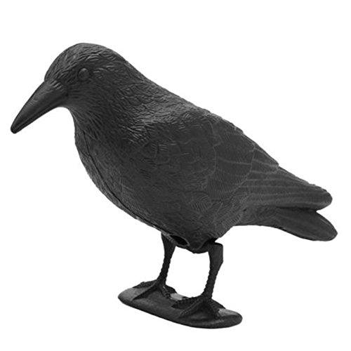 Flocked Crow Decoy, Garden Flocked Hard Plastic Simulation Crow Jet Black Crow Decoy Hunting Stand Body Feet Stake