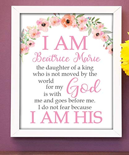 I am His Print | Girls Room Decor | Girls Wall Art | Baby Girl Gift | Confirmation Gift | Goddaughter Gift | Christening Gift | Religious Gift | Christening Present | Baptism Present | First Communion ()
