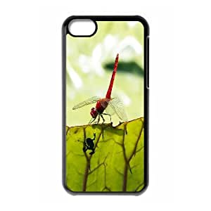 IPhone 5C Cases Red Dragonfly 2, Girl Protective Dragonfly Cases Naza, {Black}