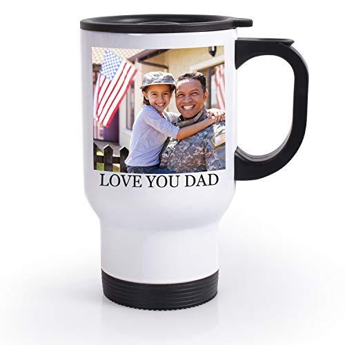 Personalized Photo Travel Mugs (Custom Travel Coffee Mugs, 14 oz. Personalized Photo Travel Mugs - Add Photo, Logo, Text, Name on Coffee Mugs - Taza Personalizada, Personalized Photo Gifts for Grandpa, Grandma, Mother,)