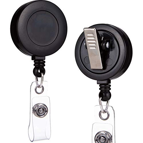OFES - 100 Pack - Retractable ID Name Badge Holder Reels with Swivel Alligator Clip (Black, 100 Pack)