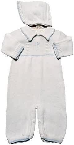 Boy's White Cotton Knit Christening Baptism Longall w/ White or Blue Cross and Hat