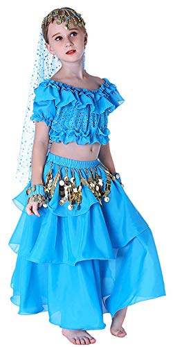 Genie Costume Arab Princess Belly Dance School Outfits 4T 6 7 8 10 12 14 16 L XL Blue]()