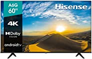 "Hisense 60"" A6G 4K UHD Android TV con Control de Voz, HDR Dolby Vision (60A6G,"