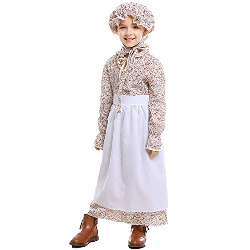 BUYITNOW Prairie Girl Child Costume, Pioneer Costume Colonial Prairie Dress for Halloween Costume Dress Up Party White]()
