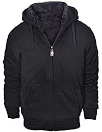 Men's Winter Heavyweight Fleece Hoodie Jackets Sherpa Lined with Full Zip for Big & Tall