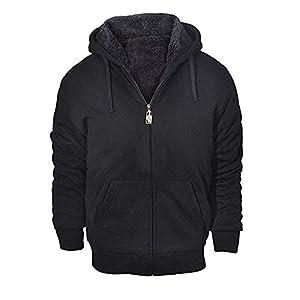 GEEK LIGHTING Men's Winter Heavyweight Fleece Hoodie Jackets Sherpa Lined with Full Zip for Big & Tall