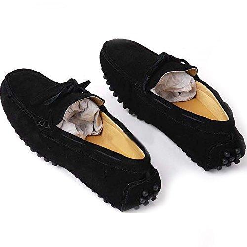 Fulinken Daim Cuir Mocassin Mens Glisser Sur Les Mocassins Chaussures De Sport Chaussures De Conduite Noir