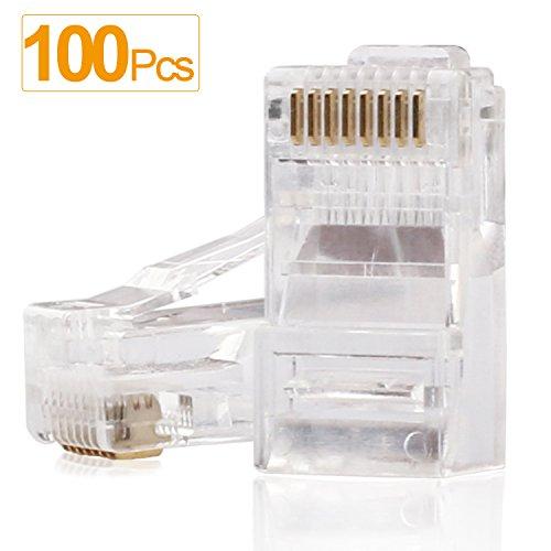 - RJ45 Connectors,SHD Cat6 Connector Cat5e Connectors Cat5 Connectors RJ45 Ends Ethernet Cable Crimp Connectors-100Pcs
