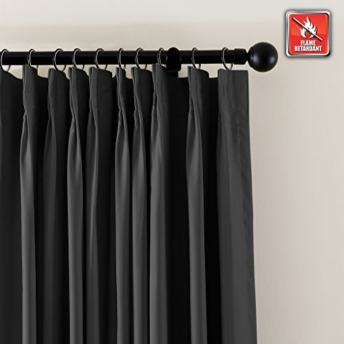 ChadMade Fireproof Flame Retardant Thermal Insulated Curtain Drapery Panel Pinch Pleat, Black 72'' W x 120'' L Home, Office, Hotel, School, Cinema Hospital (1 Panel), Exclusive by ChadMade (Image #1)