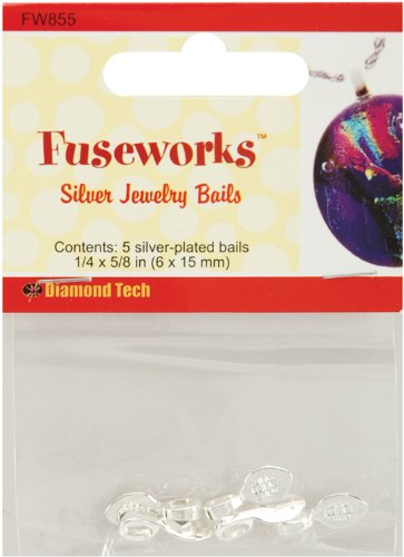 Diamond Tech Crafts Fuseworks Jewelry Findings-Small Silver Bail 5/Pkg