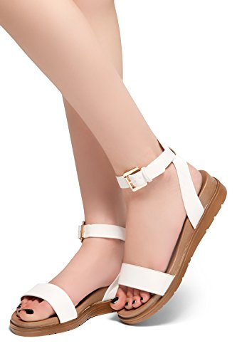 Fashion Low Needed Ankle Buckle Me Wedge Herstyle Women's Comfortable Heel White Platform Strap Shoes Sandals waxBt0dSq
