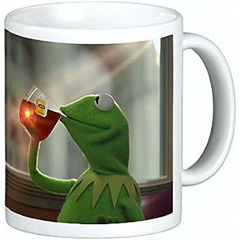 Kermit Sipping Tea Coffee Ceramic Mug 15 oz Thats None of My Business Emoji Meme king