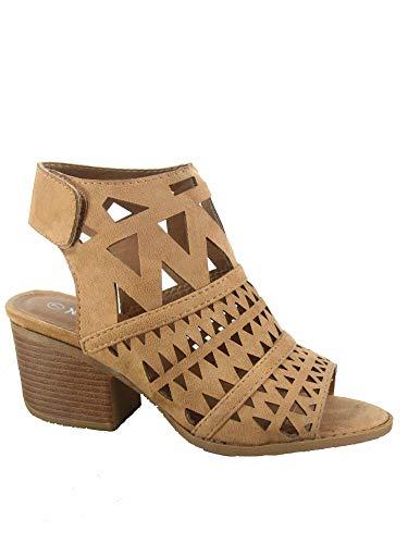 Heel Block Detail - FZ-Addie-03 Women's Fashion Open Toe Low Block Heel Laser-Cut Detail Sandal Sheos (8 B(M) US, Beige)