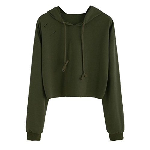 BSGSH Women's Sexy Distressed Plain Hoodie Long Sleeve Pullover Sweatshirt Crop Top (S, Army Green) - Green Distressed Crewneck
