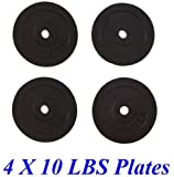 Unipack Adjustable Cast Iron Dumbbells Extra Weight Plates 4x10lbs Total 40lbs