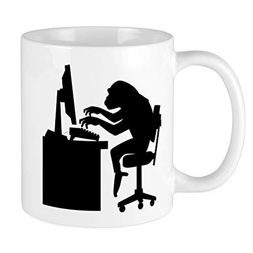 Gift Monkey Unique (CafePress Monkey On Computer Mugs Unique Coffee Mug, Coffee Cup)