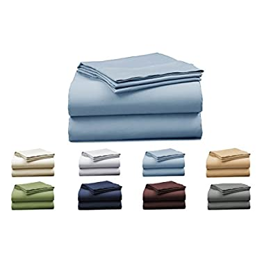 Elles Bedding Collections 1000 Thread Count Bedspread 100% Cotton Sheet Set Sateen Weave Deep Pocket Premium Quality Bedding Set Light Blue Queen