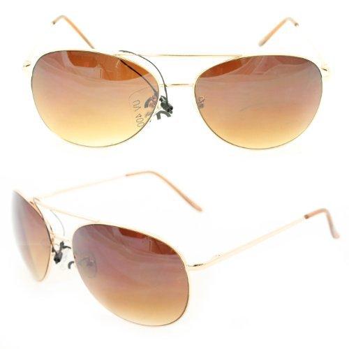 SWG EYEWEAR® Aviator Fashion Sunglasses 25 Gold Lightweight Metal Frame Amber Gradient Lens for Women and Men