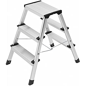 Hailo 4443 701 L90 Stepke Aluminum 3 Stool Step Ladder