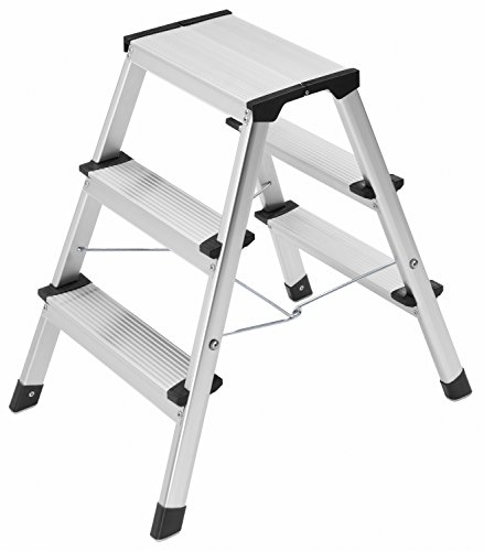 Hailo 4443-701 L90 Stepke Aluminum, 3 Stool, Step Ladder (Aluminum Dual Ladder)