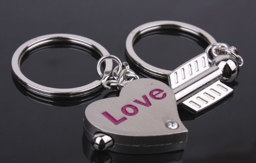 67e640fed6 Cookids Romantic True Love Heart & Arrow Couple Keychain Metal Boy Girl Love  Lovers Sweethearts Key Chain Ring Silver Unique Special Cute Novel with  Gift ...