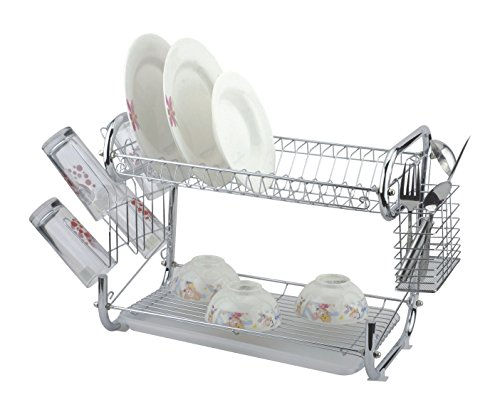 Metro Basics Chrome Plated Double Handle Dish Drainer Rack 16 - Tier Dish Rack Two