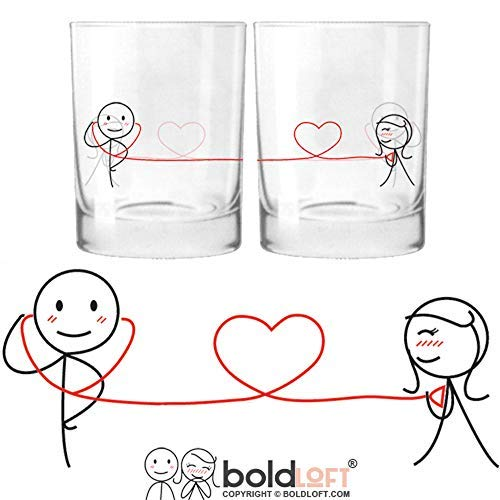 BOLDLOFT My Heart Beats for You His and Hers Drinking Glasses|Christmas Gifts for Boyfriend or Husband|Christmas Gifts for Couples|Romantic Anniversary Gifts for Him|Valentine's Day Gifts for Him