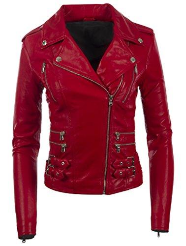 Giacca donna in pelle multiple con Aviatrix motociclista cerniere rosso autentica da RrqUaROw