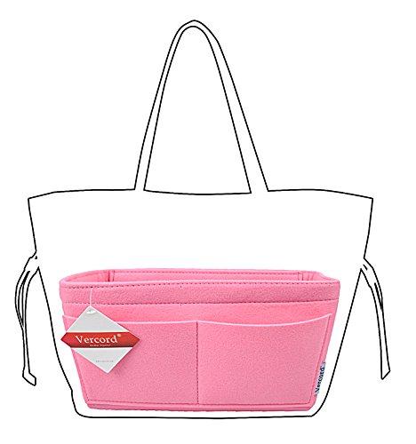 Color Pink Multi Handbag (Felt Handbag organizer,Insert Purse Organizer 10 Pockets Structure Shaper 2 Size (M, Pink))