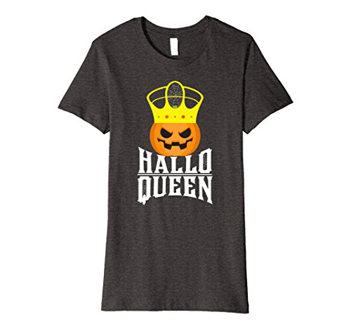 Womens HalloQueen Funny Halloween Costume Pumpkin Queen Pun T-Shirt Large Dark Heather