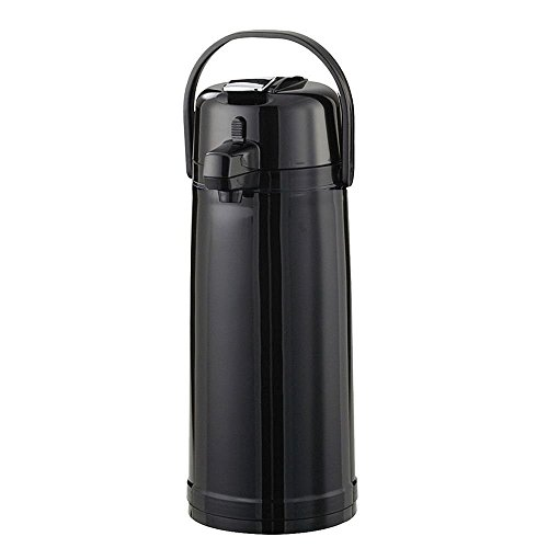Service Ideas ECAL22PBLMAT Eco-Air Lever Lid Airpot, Glass Vacuum, 2.2 Liter (74.4 oz.), Matte Black, Ribbed Texture