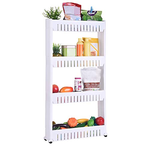 (Fine Mobile Shelving Unit Organizer with 4 Large Storage Baskets, Slim Slide Out Pantry Storage Rack for Narrow Spaces Bedrooms, Washrooms, Pantry (White))