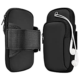 DEALPICK Neoprene Armband for Running Water Resistant Washable Mobile Holder Arm Band for Fitness Gym Outdoor Sports, Armband for All Smart Phones – Deep Black